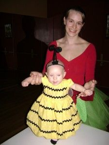 Homemade costumes--mommy flower and baby bee