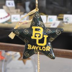 Baylor Star Cut Out Cloisonne Ornament