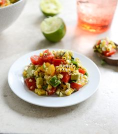 Grilled Corn & Tomato Salad w/Blue Cheese & Basil