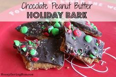 Chocolate Peanut Butter Holiday Bark: Takes just 6 ingredients and less than 15 minutes to make... You'll be glad you pinned this!