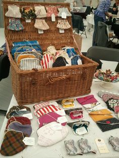 Picnic basket for display ~ Travelling Art Fair, Purses by Bunny Bosworth, via Flickr