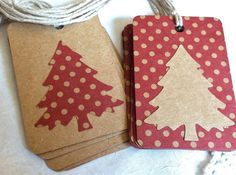Country red brown kraft paper Christmas tags polka by LeahsHeart