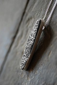 Metallic silver drusy pendant by Dollybird Design