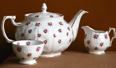 AYNSLEY ROSEDALE FINE BONE CHINA TEA SET