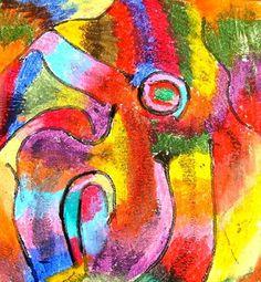 Glue down string, blend oil pastels around