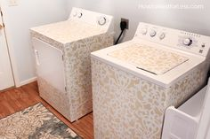 Great, bright laundry room remodel with stenciled washer and dryer