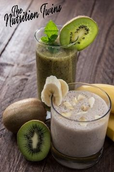 Banana Kiwi Smoothie!  | Just 90 delicious, protein-rich calories!  Great way to start your day or for a snack! NutritionTwins.com
