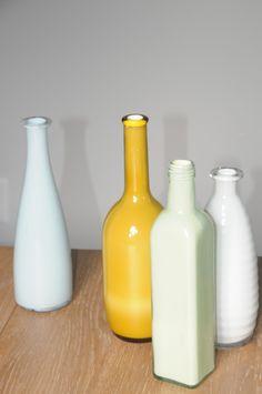 diy tutorial, milk glass, milk bottles, painted vases, painted bottles, craft tutorials, old bottles, colored glass, faux milk