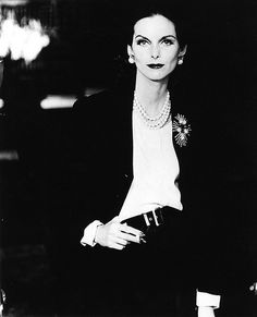 Anne St. Marie wearing Miriam Haskell brooch