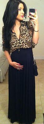 Leopard blouse & Rachel Pally maxi skirt