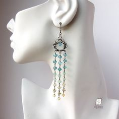 Custom Made Sterling Silver And Gemstone Ombre Tassel Earrings, Long Chandelier Earrings by Noria Jewelry | CustomMade.com