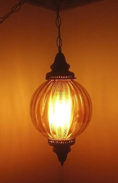 VINTAGE 1970's Honey Gold Round Glass Swag Lamp w/Diffuser- FAB Hanging Light