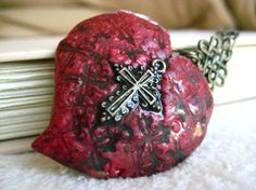 red heart and cross pendant ~ polymer clay