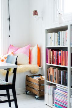 interior, pillow, wheel, bench, color, book, reading nooks, wooden crates, window seats