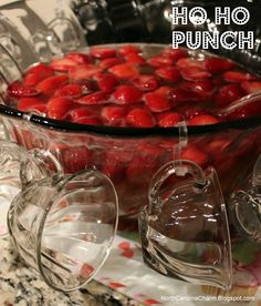 Ho Ho Punch. INGREDIENTS: 1 (750 milliliter) bottle champagne 1 (2 liter) bottle ginger ale, chilled 2 (10 ounce) packages frozen strawberries, partially thawed DIRECTIONS: 1. In a large punch bowl, combine champagne, ginger ale and strawberries. Gently stir and serve.