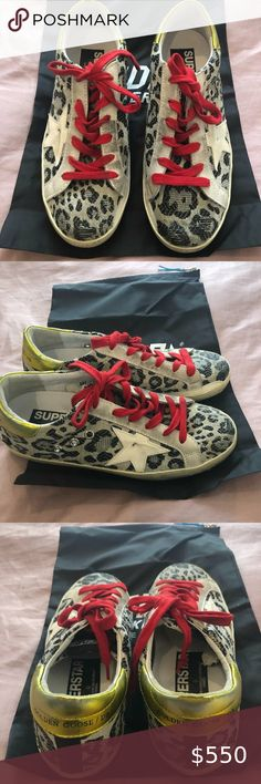 New! Golden Goose Black Leopard Cream Star, 36 Mint condition Golden Goose Deluxe Brand Black Leopard Cream Star Superstar's, Size 36. Worn once and still brand new. Amazing color combo and very hard to find. Comes with original box and shoe bag. Golden Goose Deluxe Brand Shoes Sneakers