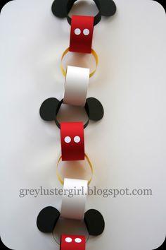 chain tutori, mickey mouse birthday, countdown chain, templat, mickey ears diy, mickey birthday, paper chains