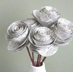 ...lovely newspaper flowers