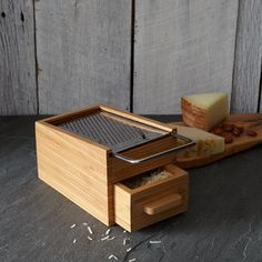 Bamboo and Metal Box Grater / West Elm