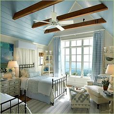 decor, traditional kitchens, dream, blue bedrooms, white bedrooms, windows, cottage bedrooms, guest rooms, blues