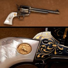 Colt Single Action Army Revolver- Mother-of pearl grips panels/gold wire inlays. Golden Colt logo in the grips also makes this magnified view a special part of this pistol.