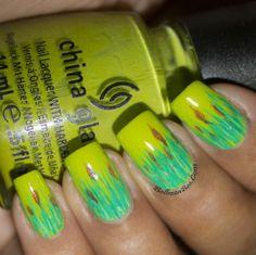 Green Green Grass nailart nail, challenges, china glaze, colorful nails, nail designs, green green, nail arts, polish, green grass