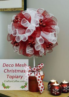 A red & white Deco Mesh Christmas Topiary, and a giveaway! (Just change colors for Halloween theme)