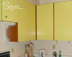 Cover your cabinets with contact paper instead of painting them!