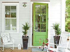 Green door, white porch