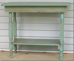 crib legs repurposed into a table or kitchen island (keep the wheels on!)