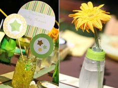 A colorful baby bottle is a natural choice for a vase at a shower!