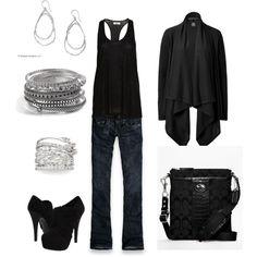 jean, clubbing outfits, black clothes, color, black beauti, black heels, beauty, shoe, bags