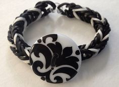 Black & White Button Rubber Band Bracelet by NerdintheBrain, $2.50