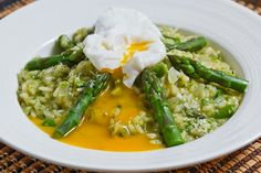 Asparagus Risotto with a Poached Egg