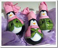 painted lightbulb penguins, lightbulb ornaments, green crafts, craft idea, christmas ornament crafts, recycled crafts, christmas ornaments, light bulb, christmas tree ornaments