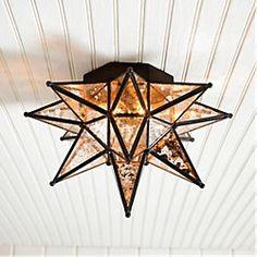 ceil mount, star ceil, moravian star, ceiling lighting, light fixtures, mercury glass, stars, ceilings, front porches