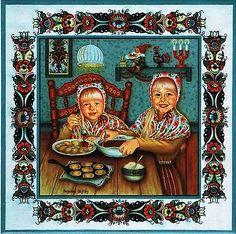 "Swedish Trivet Tile ""Swedish Pancake Girls"" by Suzanne Toftey with Recipie"