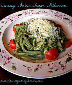 Creamy Garlic Scape Spinach Fettuccine