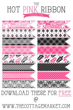 Free Hot Pink And Toile Digital Ribbons