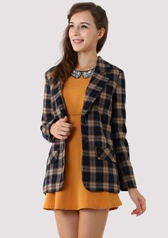 Brown Check Blazer - Outers - Retro, Indie and Unique Fashion