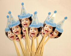 craft, cupcak topper, stick, cake idea, 1st birthday, photo cupcak, birthday cake, parti idea, cupcake toppers