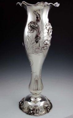 Shiebler Antique Sterling Art Nouveau Vase, ca.1900