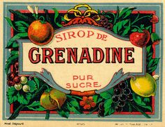 vintage French grenadine label