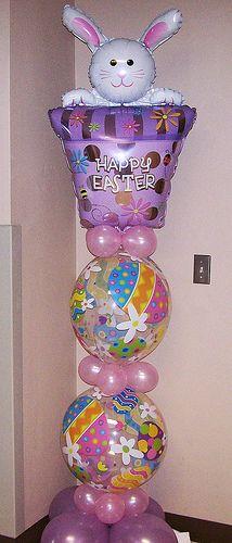 mylar balloon, balloon decor, balloon column, balloon pillar, bunni balloon