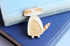 Laser Cut Wooden Racoon Brooch by GingerPickle1 on etsy!