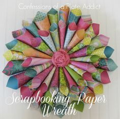 Really pretty scrapbooking paper wreath. See step by step tutorial here.