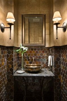 Ideas for small bathroom. http://shine.yahoo.com/at-home/10-jewel-box-powder-rooms-213800891.html