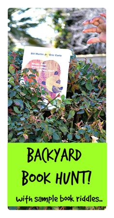 """Backyard Book Hunt with sample """"cryptic clues"""" Spice up egg hunt this year with a dash of literacy! #outdooractivitiesforkids"""