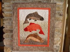 fishing quilts, fish quilts, decor trout, cabins, quiltingsew idea