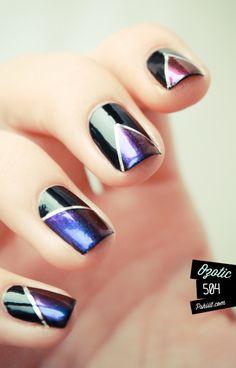 LOVIN this multi-chrome nail polish & silver striping tape nail art inspired mani..ℒᎧᏤᏋ IT!!!! ღ❤ღ